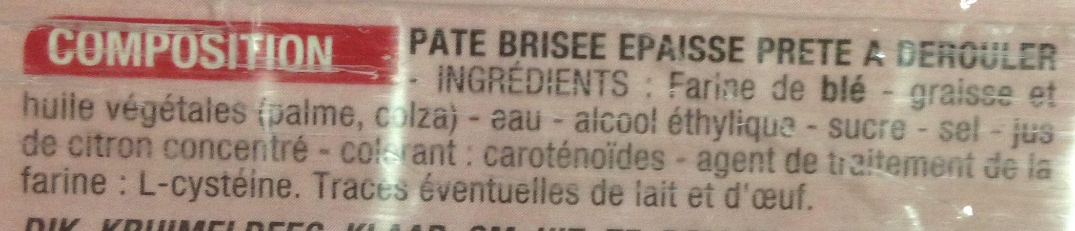 Pâte Brisée épaisse - Ingrédients - fr