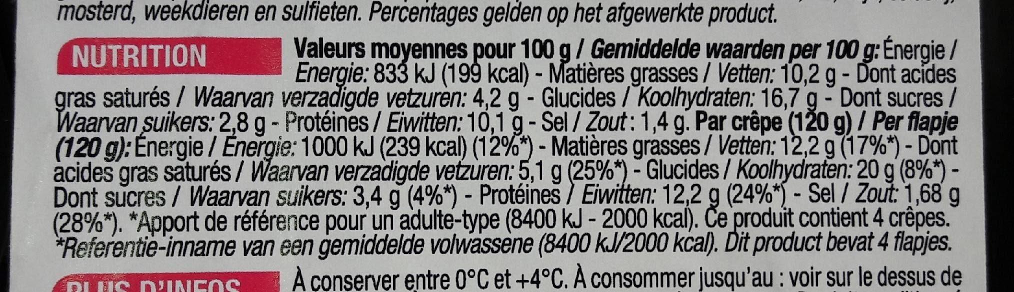 Crêpes jambon emmental - Nutrition facts - fr
