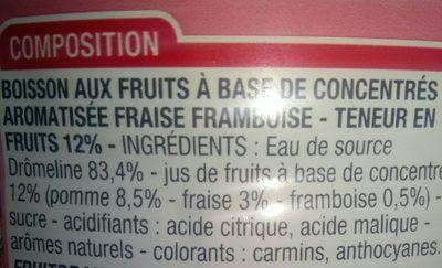 Boisson Fraise Framboise - Ingrédients