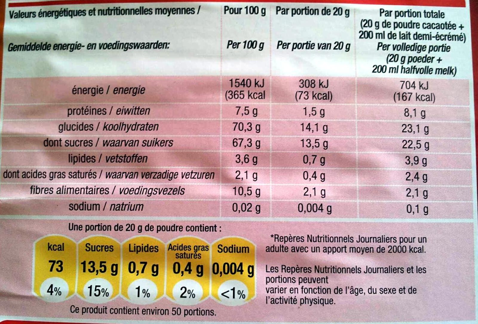 Pur arôme - Informations nutritionnelles - fr
