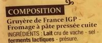 Gruyère de France (32% MG) - Ingredients