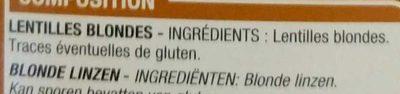 Lentilles blondes - Ingrédients