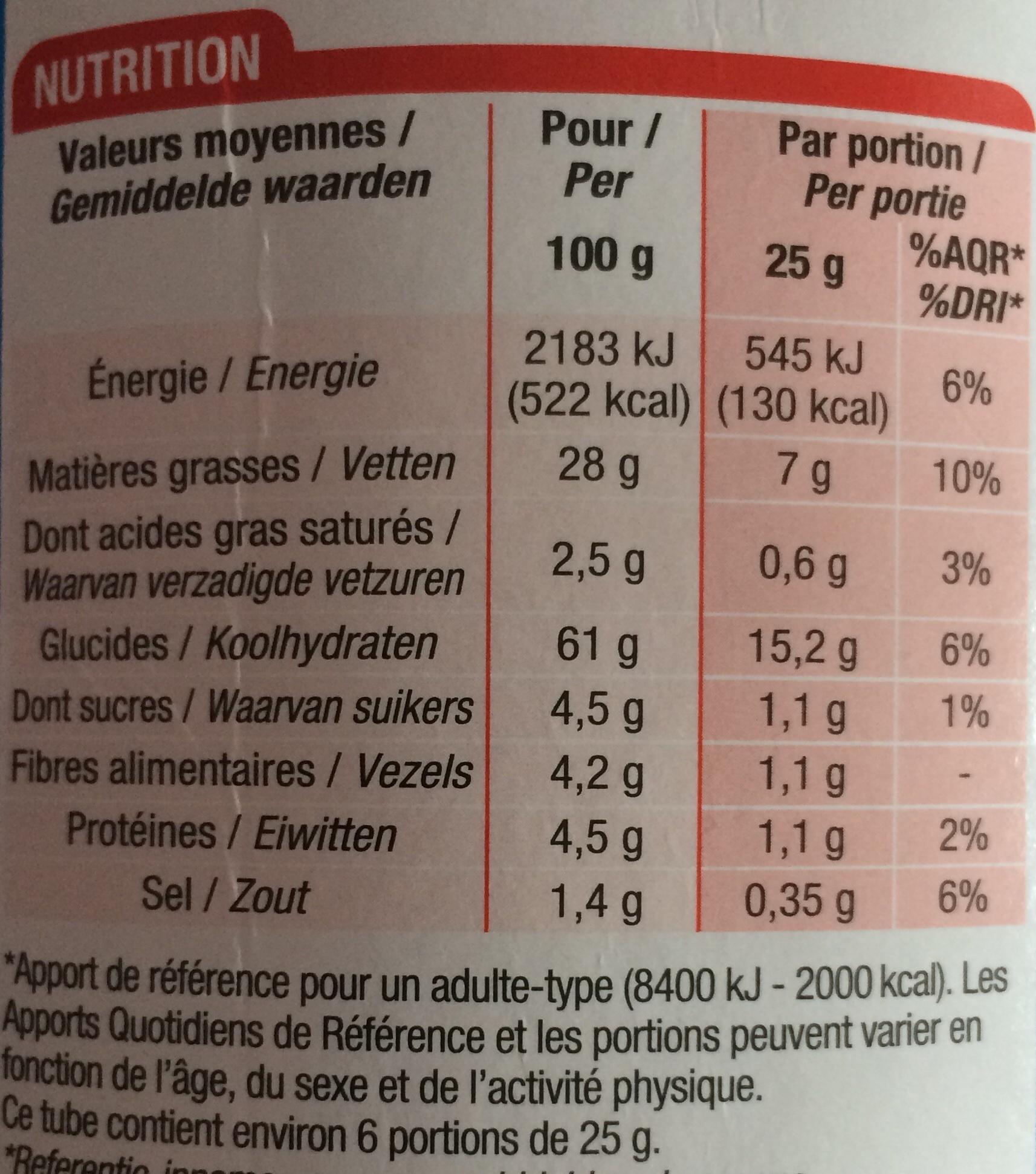 Tuiles salées - Informations nutritionnelles