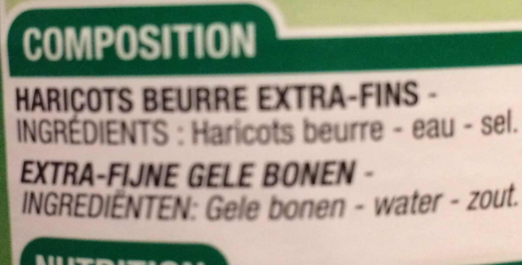 Haricots beurre extra fins , 440g - Ingredients