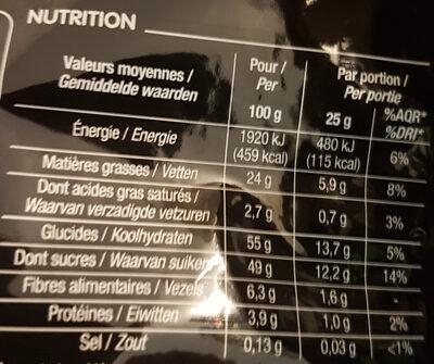 Duo Fruits rouges et noix - Informations nutritionnelles - fr