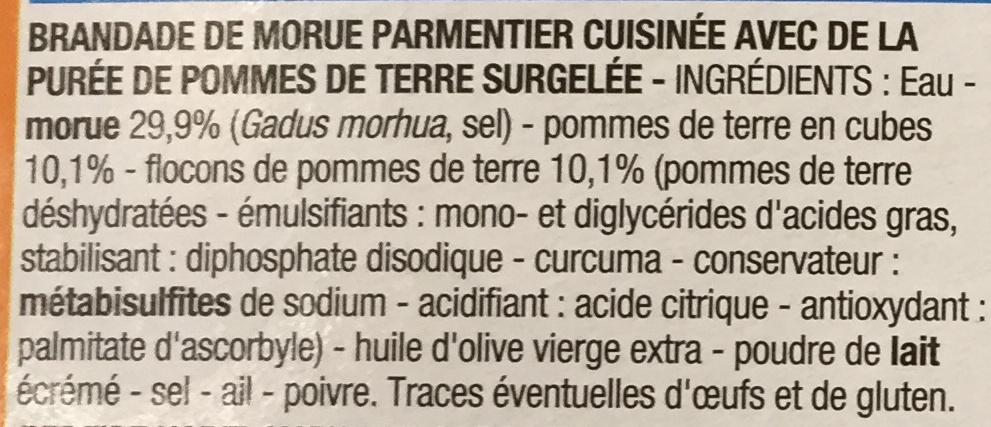 Brandade de morue parmentier, Surgelé - Ingrédients - fr