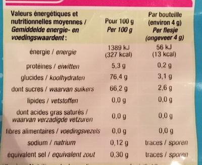 Bouteilles goût piquant - Voedingswaarden - fr