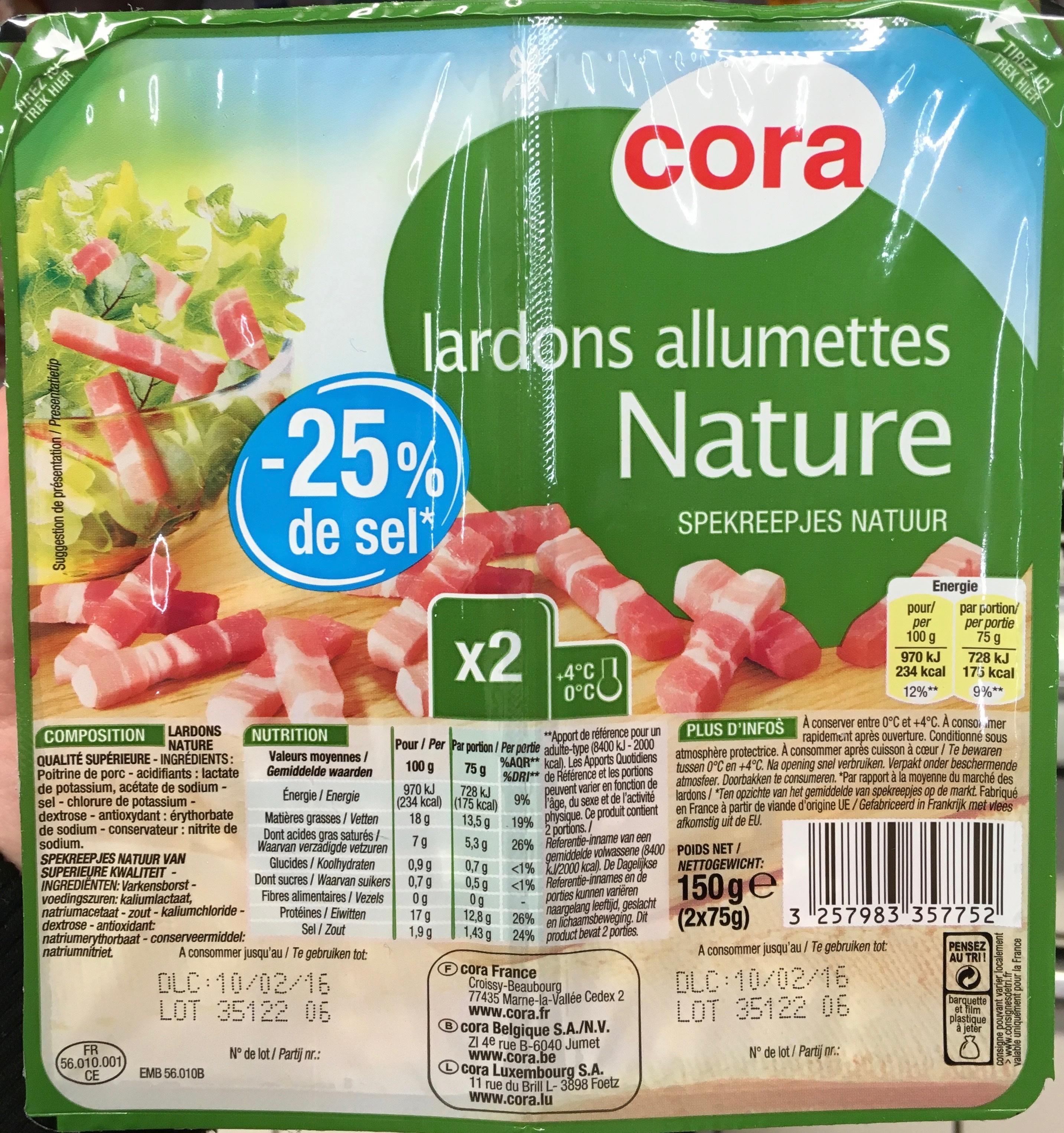 Lardons allumettes Nature - Produit - fr