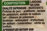 Lardons allumettes Nature - Ingrédients - fr