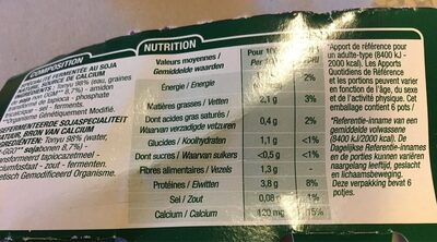 Yaourt nature soja - Informations nutritionnelles