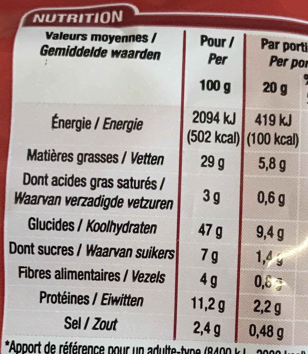 Soufflés Tomate - Nutrition facts