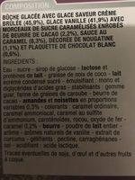 Buche glacée - Ingrédients - fr