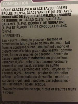 Buche glacée - Ingrédients