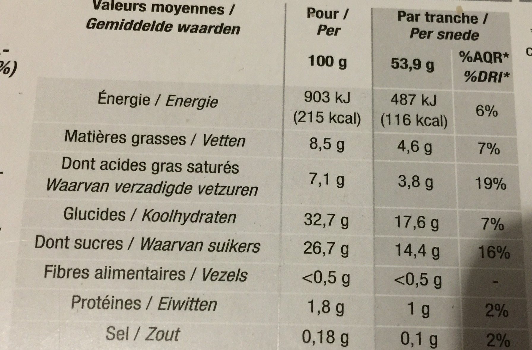 Buche glacée - Informations nutritionnelles - fr