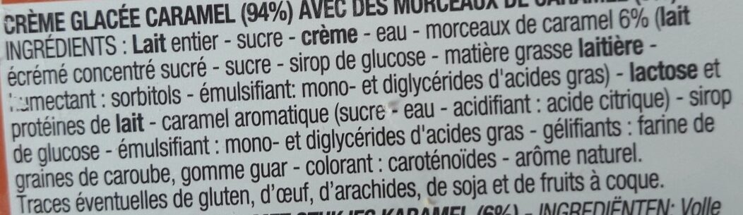 Crème glacée caramel - Ingredients