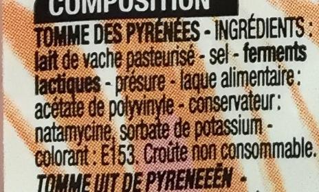 Tomme des Pyrénées (29,1% MG) - Ingrédients - fr