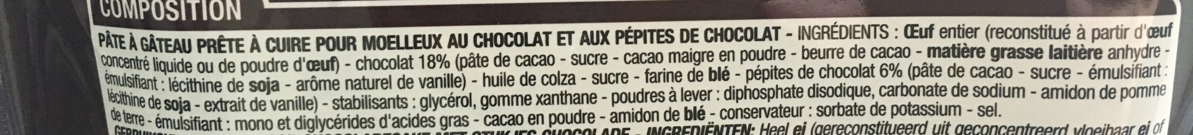 Préparation pour moelleux au chocolat - Ingrediënten
