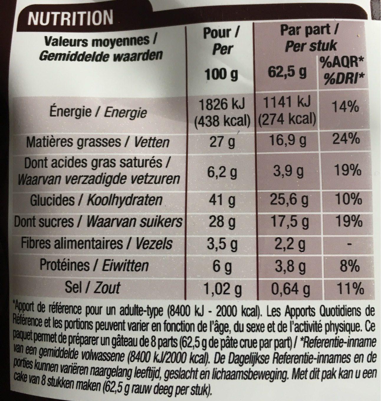 Préparation pour moelleux au chocolat - Voedingswaarden