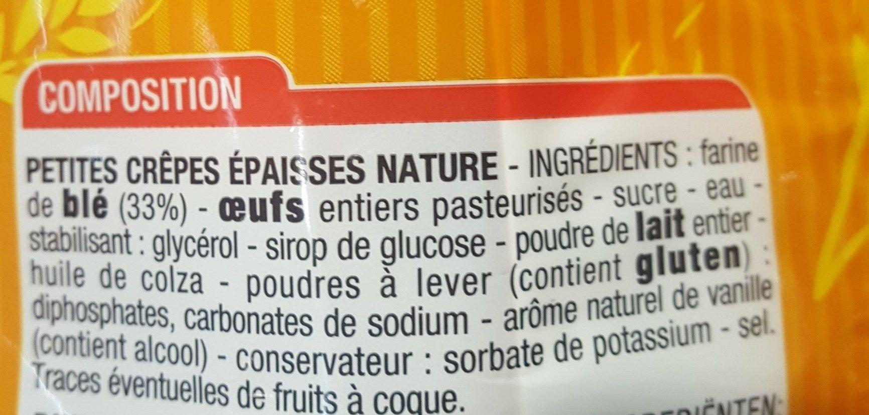 Pancake nature - Ingrédients