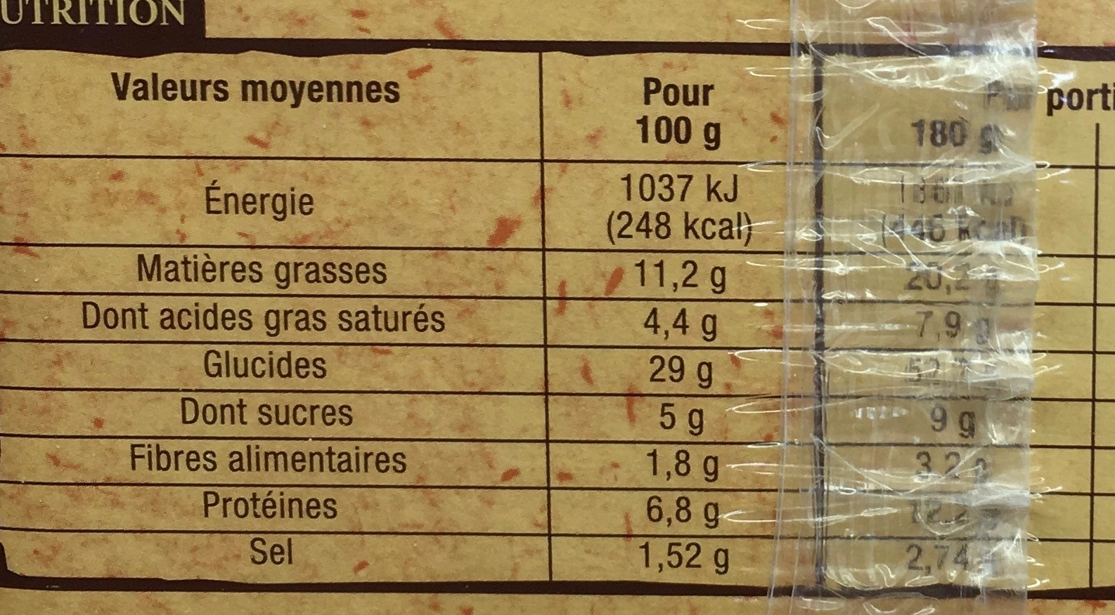 Flammekueche - Informations nutritionnelles - fr