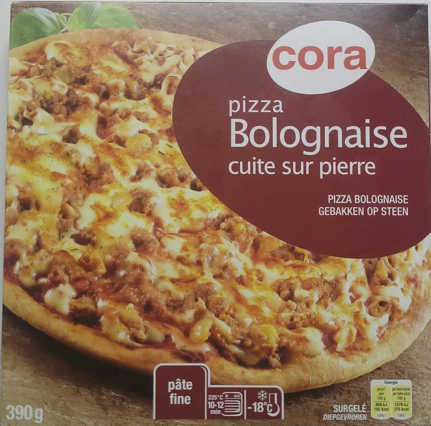pizza bolognaise cuite sur cora 390 g