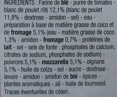 Pizza poulet - Ingrédients - fr