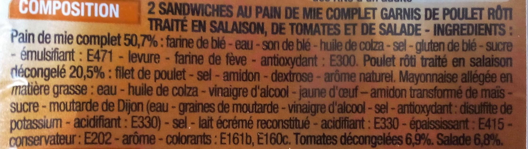 Sandwich poulet rôti, crudités au pain de mie complet - Ingrediënten - fr