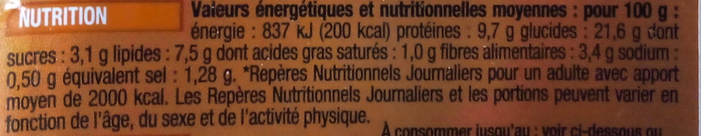 Sandwich poulet rôti, crudités au pain de mie complet - Voedingswaarden - fr