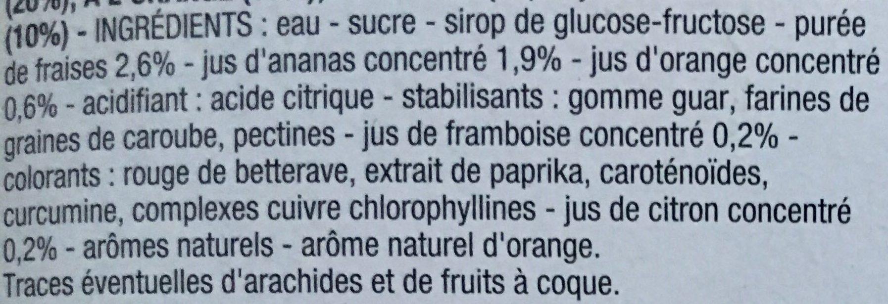 Bâtonnets goût Multi-fruits ananas, fraise, orange, citron, framboise - Ingrediënten