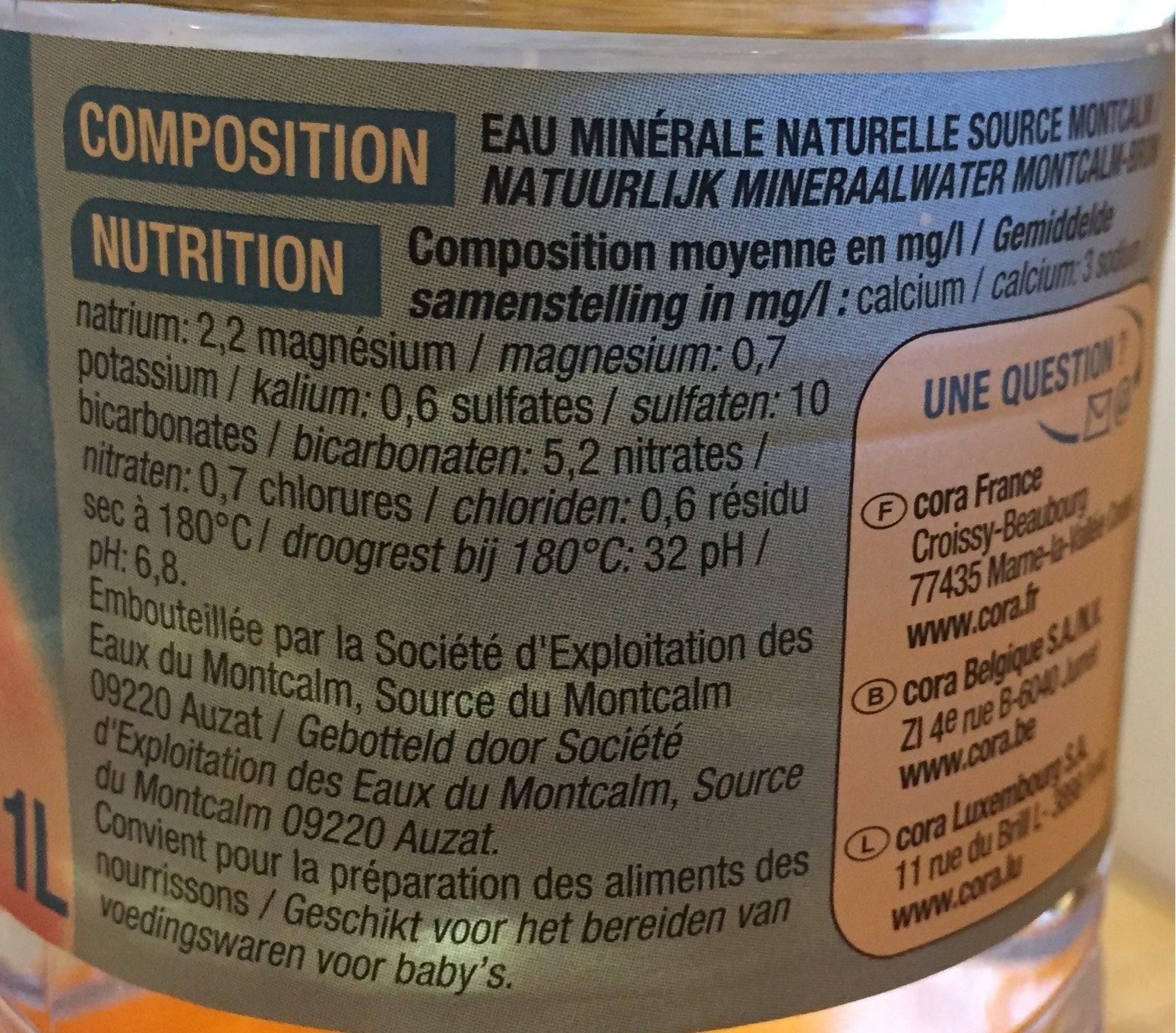 Eau minerale naturelle - Voedingswaarden - fr
