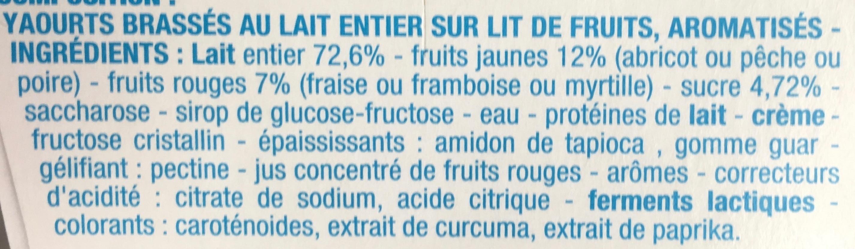 Yaourt sur lit de fruits - Ingrédients - fr