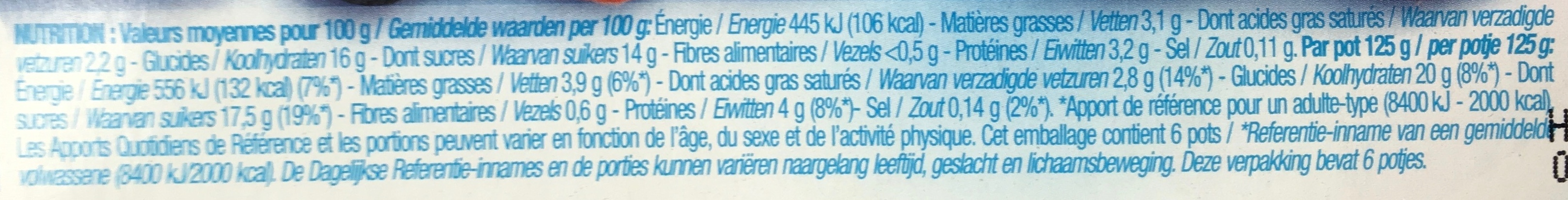 Yaourt sur lit de fruits - Informations nutritionnelles - fr