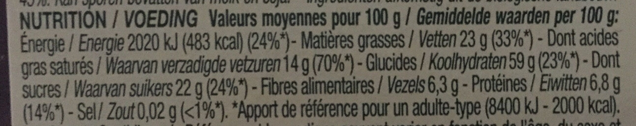 Galettes de riz chocolat noir - Valori nutrizionali - fr