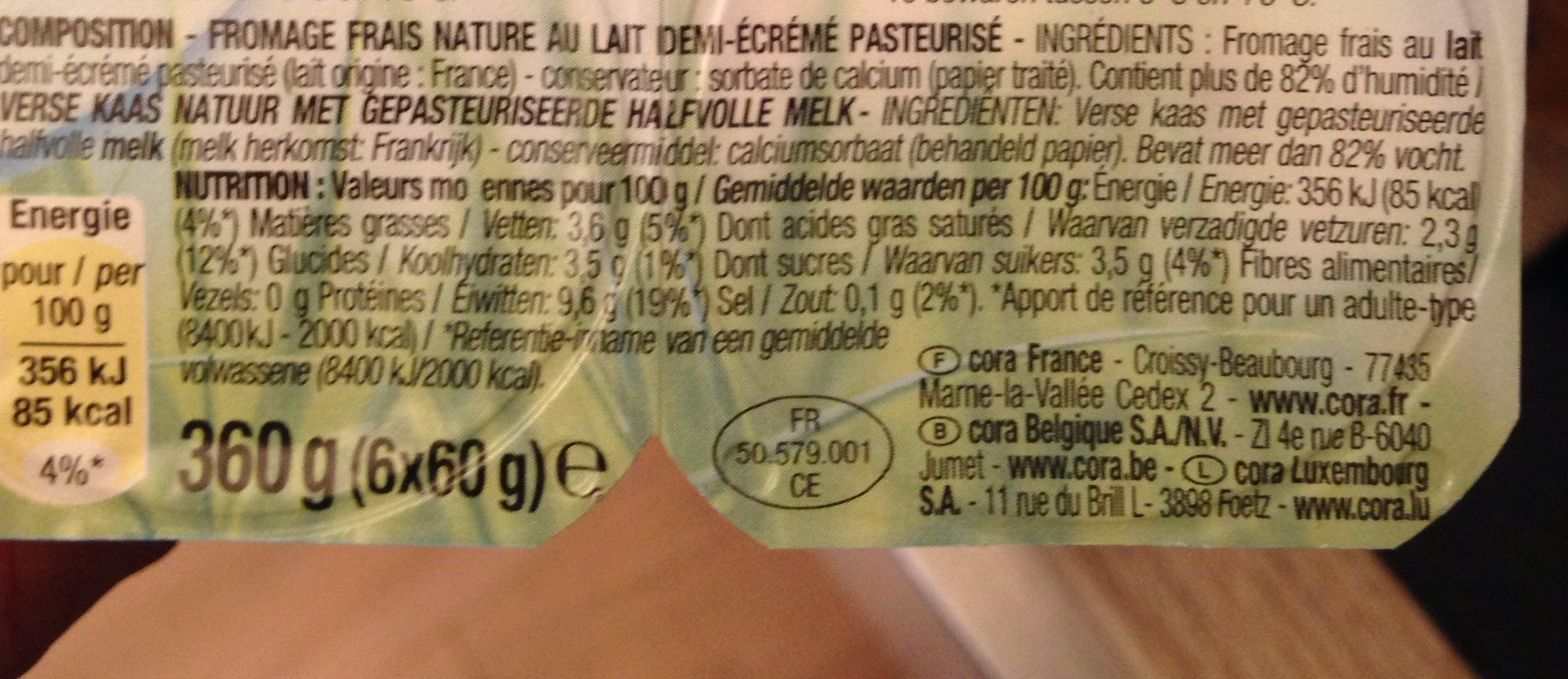 Fromage Frais Nature - Ingrediënten - fr