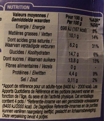 Petits pots de creme saveur vanille - Informations nutritionnelles - fr