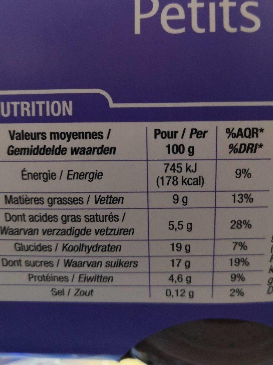 Petit pot creme chocolat - Informations nutritionnelles - fr