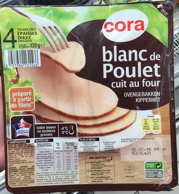 Blanc De Poulet Cuit Au Four Cora 120 G