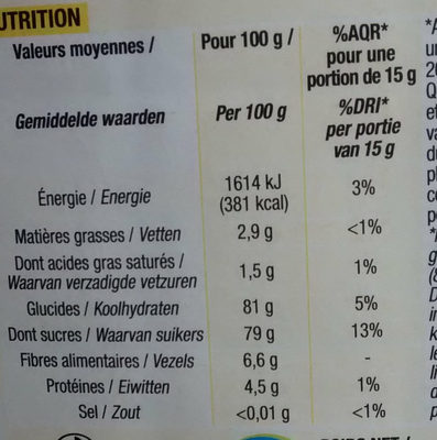 Kido poudre cacaotee - Informations nutritionnelles