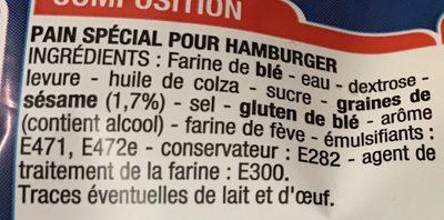 Pains pour Hamburger Géant - Ingrédients