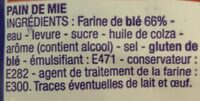 Pain de Mie Nature - Ingredients - fr