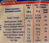 Pain de Mie Nature - Nutrition facts - fr