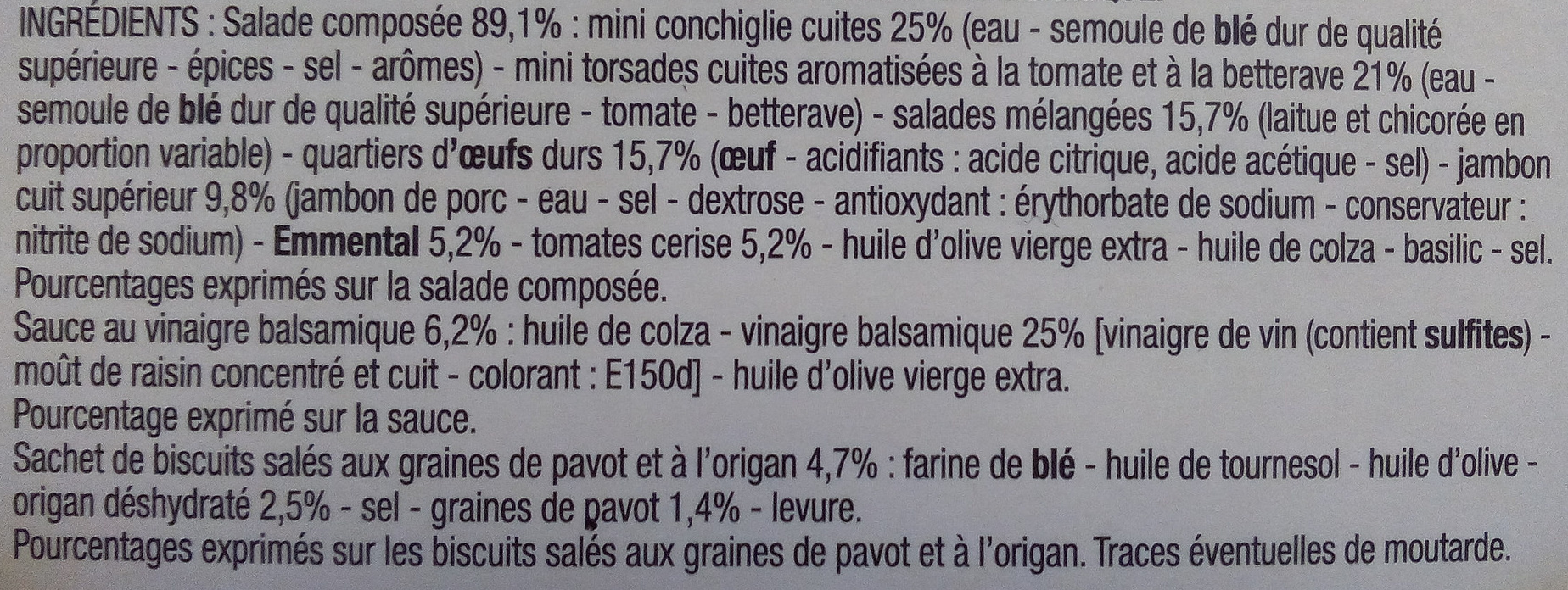 Salade de pâtes, Jambon, œuf, emmental - Ingredients