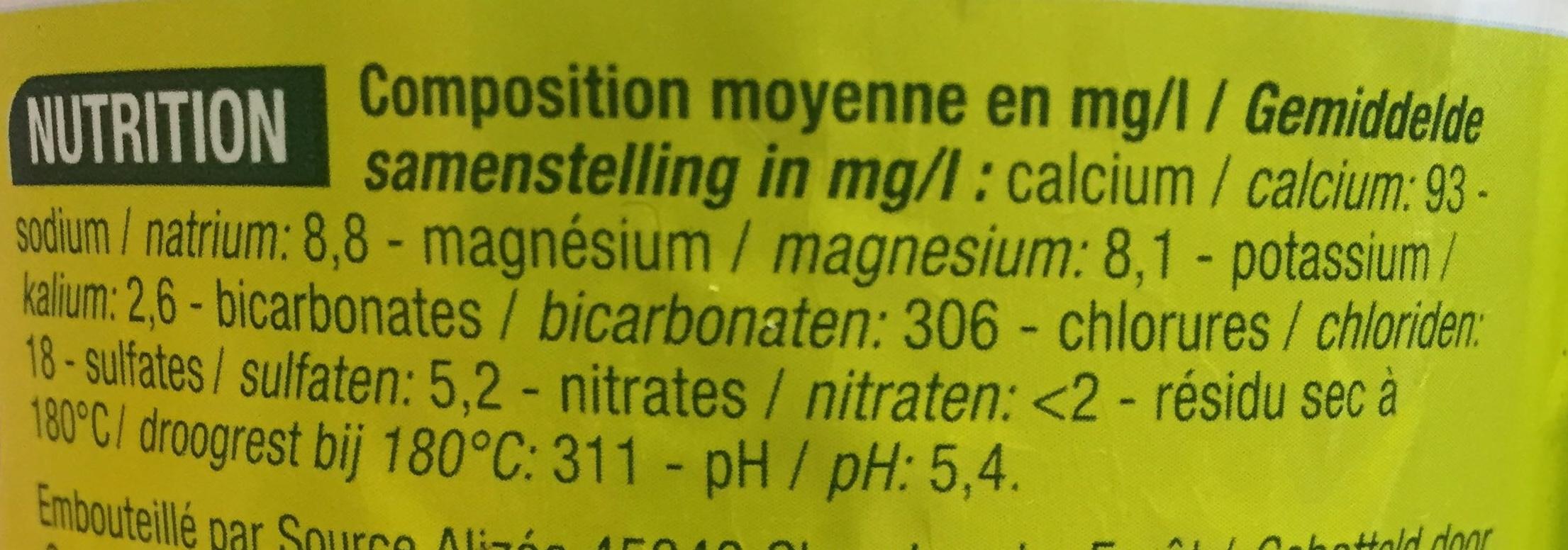Eau minérale naturelle gazéifiée - Informations nutritionnelles - fr