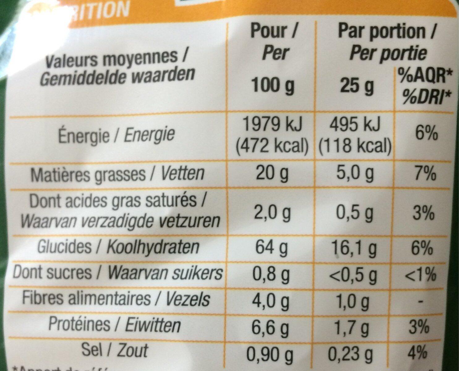 Tortilla chips nature - Informations nutritionnelles - fr