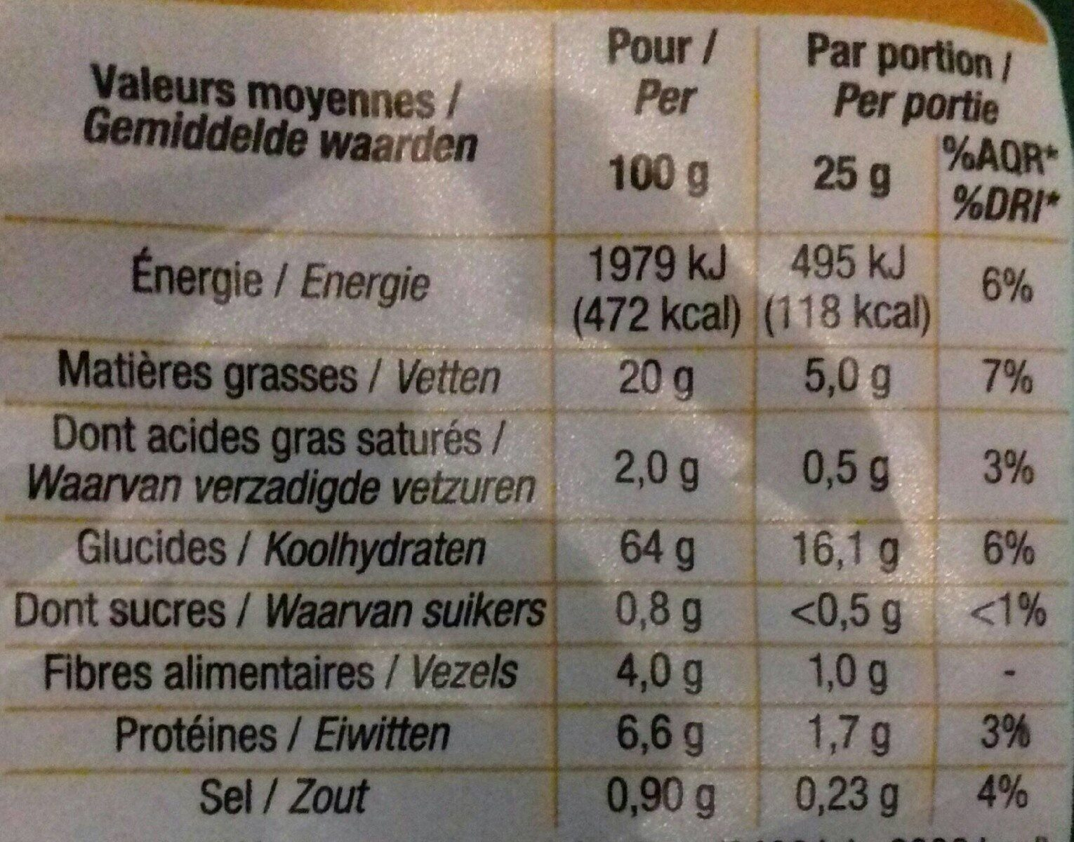 Tortilla chips nature - Nutrition facts - fr