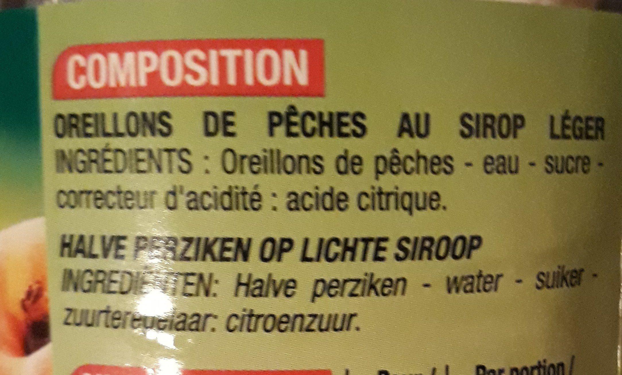 Pêches au sirop léger - Ingrédients - fr