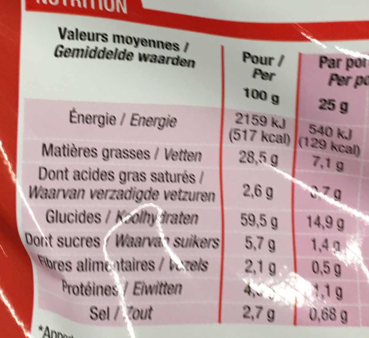 Kid'snacks goût Ketchup - Nutrition facts