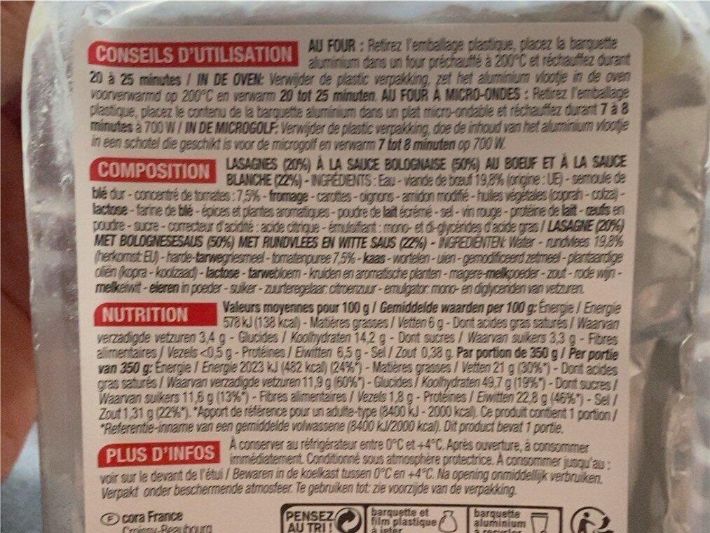 Lasagnes Bolognaises - Nutrition facts - fr