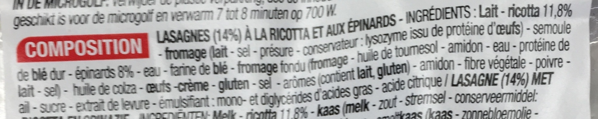 Lasagnes Ricotta Épinard gratinées - Ingrédients - fr