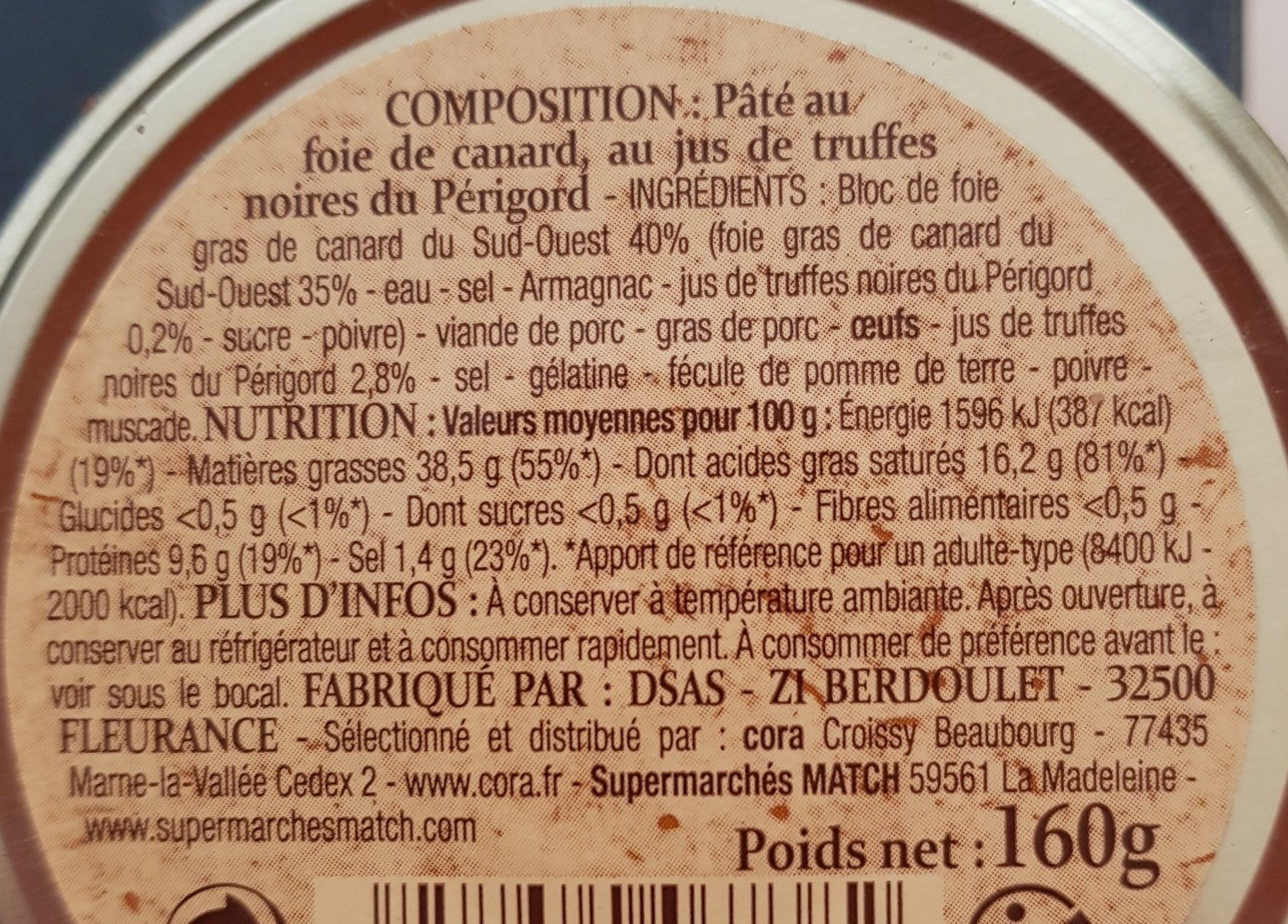 Pate recette perigourdine au foie de canard - Ingrédients - fr